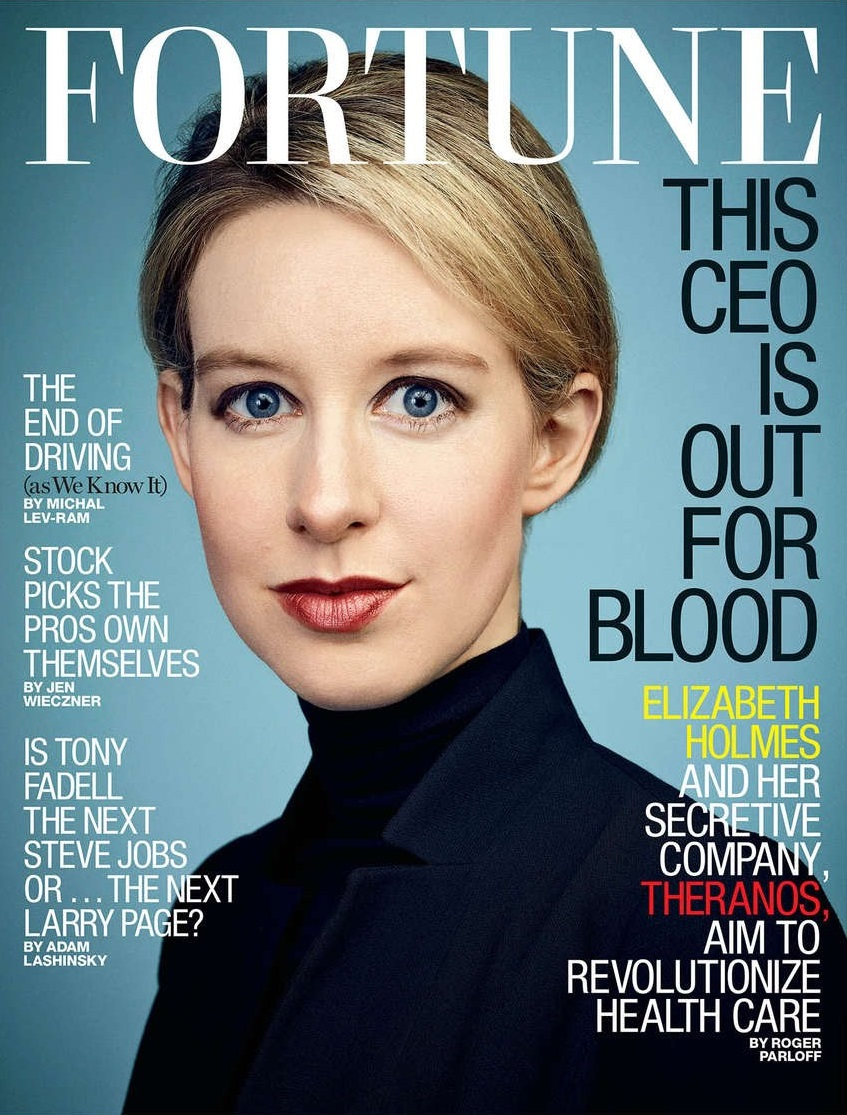 Elizabeth Holmes, CEO of blood testing firm Theranos, graces the cover of Fortune magazine.