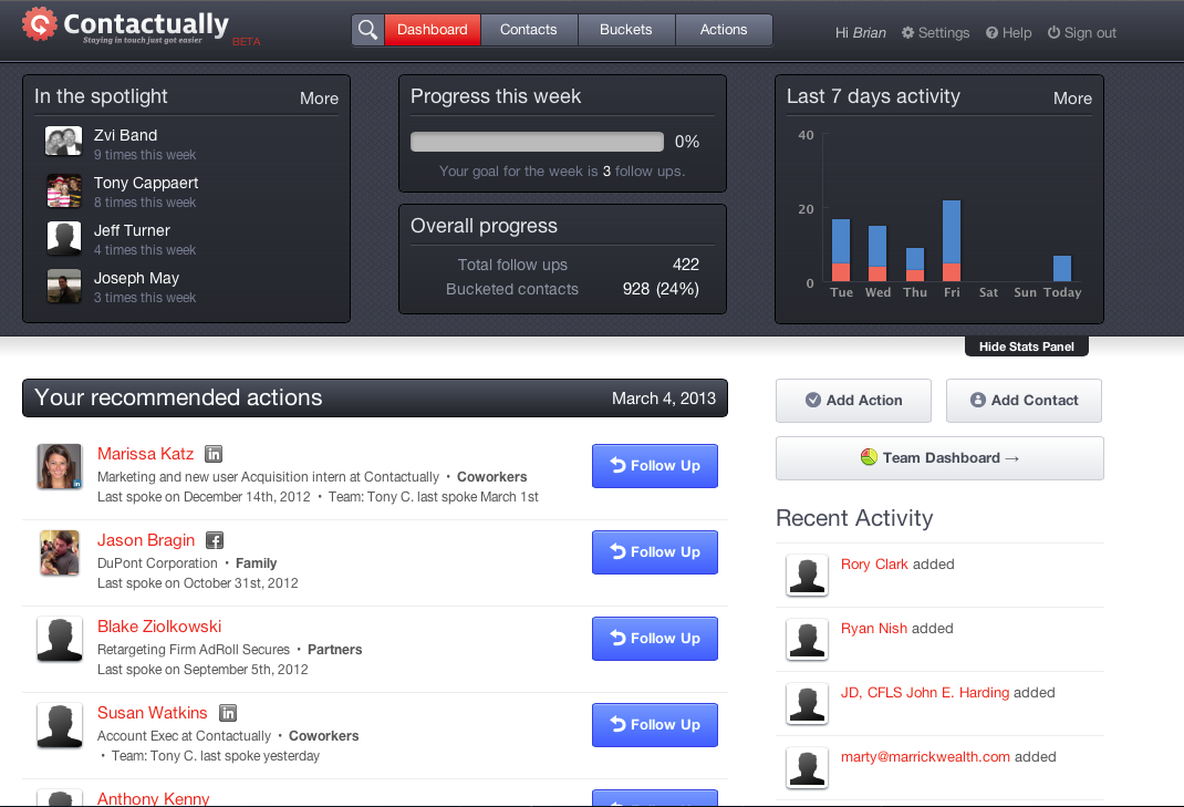 Contactually Sales and Marketing Automation