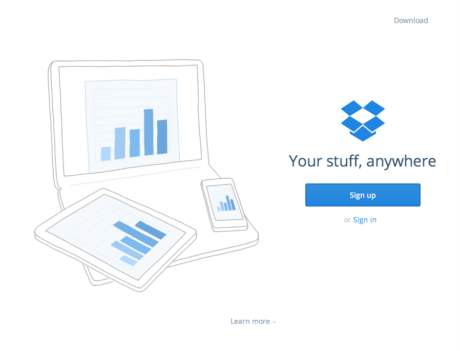 Check out the call to action (CTA) in this Dropbox landing page.